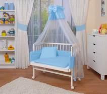 WALDIN Beistellbett mit Matratze und Nestchen, höhenverstellbar, Ausstattung blau/weiß, Gestell Weiß lackiert