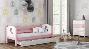 Kinderbettenwelt 'Felicita F3' Kinderbett 80x160 cm, Rosa, inkl. Schublade und Rausfallschutz