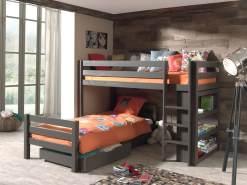 Vipack 'Pino' Winkel-Etagenbett 90x200 cm, taupe, Kiefer massiv, mit Bettschubladen