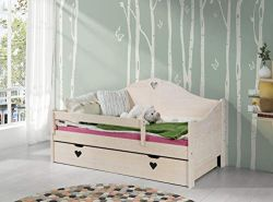 KAGU 'Candy' Kinderbett White Oak inkl. Matratze und Bettkasten 80x160 cm