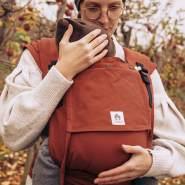 LIMAS Plus Babytrage Halfbuckle| 56 – 104 cm | Bauchtrage & Rückentrage & Hüfttrage | ab Geburt bis Kleinkindalter | Baby Carrier | Rusty Red