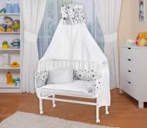 WALDIN Beistellbett mit Matratze und Nestchen, höhenverstellbar, Ausstattung Sterne, Gestell Weiß lackiert