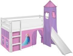 Lilokids 'Jelle' Spielbett 90 x 200 cm, Eiskönigin Lila, Kiefer massiv, mit Turm, Rutsche und Vorhang