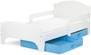 Leomark Kinderbett mit Schubladen für Bettwäsche und Matratze 140 x 70, weiß