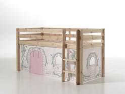 Vipack 'Pino' Spielbett natur, mit Vorhang 'Birdy'