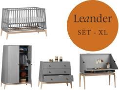 Leander Luna Kinderzimmer XL-Set Grau / Eiche Kleiderschrank Klein Babybett 120 x 60 cm