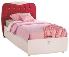 Froschkönig24 Cilek Yakut Bett Kinderbett Kinderzimmer 100x200cm Weiß/Pink, Matratze:mit