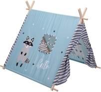 Kinderzelt WASCHBÄR/LAMA, 101x106x106 cm - Home Styling Collection blau