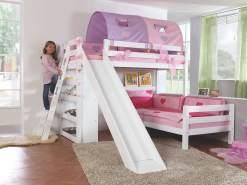 Relita 'SKY' Etagenbett mit Rutsche weiß, inkl. Stoffset Lila/Rosa ohne Matratzen