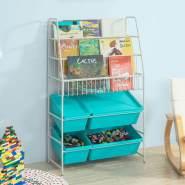 SoBuy Kinder-Bücherregal mit 4 Spielzeugkisten, weiß