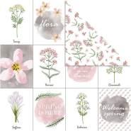 Design-Papier, Blatt 30,5x30,5 cm, 180 g, , Blumen, 5Bl.
