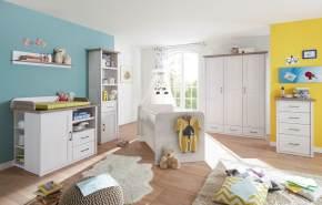 Bega 'Luca' 6-tlg. Babyzimmer-Set, aus Bett 70x140 cm, Wickelkommode inkl. Unterstellregal, 3-trg. Kleiderschrank, Standregal, Kommode und Wandregal