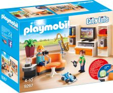 Playmobil City Life 9267 'Wohnzimmer', 37 Teile, ab 4 Jahren, mit Lichteffekten