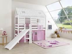 Relita 'Tom´s Hütte' Spielbett und Bett Eliyas mit Rutsche, Buche massiv weiß lackiert, inkl.Textilset rosa-weiß