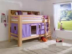 Relita 'Jan' Etagenbett mit Bücherregal und Vorhang, natur lackiert / purple/rosa