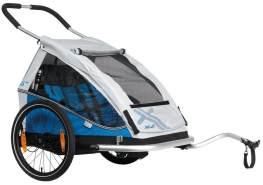XLC Fahrrad-Kinder-Anhänger Mod 2018 20 Duo8teen blau- silber Zweisitzer