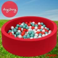 Bio Premium Bällebad AUGSBURG in rot mit 300 Bällen aus Zuckerrohr