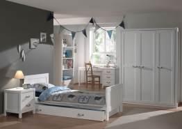 Vipack 'Lewis' 5-tlg. Kinderzimmer-Set 90x200cm, weiß, mit Bett, 3-trg. Kleiderschrank, Regal, Nachtkonsole und Schreibtisch
