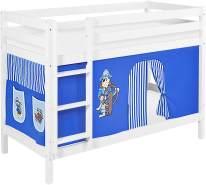 Lilokids 'Jelle' Etagenbett 90 x 190 cm, Pirat Blau, Kiefer massiv, mit Vorhang und Lattenroste