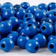 Holzperlen, D: 12 mm, Lochgröße 3 mm, Blau, 22g, ca. 40 Stück