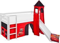 Lilokids 'Jelle' Spielbett 90 x 200 cm, Disney Cars, Kiefer massiv, mit Turm, Rutsche und Vorhang