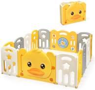 COSTWAY Laufgitter mit Tür und Spielzeugboard, mit Sound, aus Kunststoff, 14 Elemente
