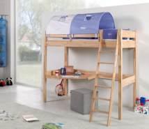 Relita 'RENATE' Multifunktionsbett mit Schreibtisch Buche, Stoffset Blau/Boy mit Matratze