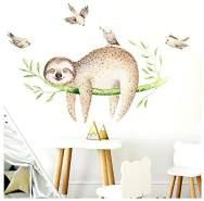Little Deco Wandtattoo Faultier auf AST & Vögel I 134 x 62 cm