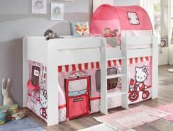 Relita 'Andi' Halbhochbett weiß, inkl. Matratze und Stoffset 'Hello Kitty'
