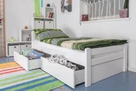 Einzelbett/GästebettEasy Premium Line K1/2n inkl. 2 Schubladen und 2 Abdeckblenden, 90 x 200 cm Buche Vollholz massiv weiß lackiert