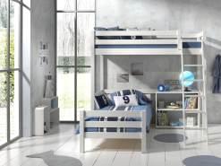 Vipack Winkel Hochbett weiß, mit 2 Liegeflächen 90 x 200 cm und Regal, Ausf. weiß lackiert
