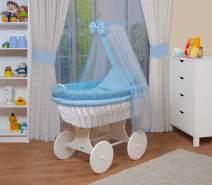 WALDIN Baby Stubenwagen-Set mit Ausstattung, Gestell/Räder weiß lackiert, Ausstattung blau kariert