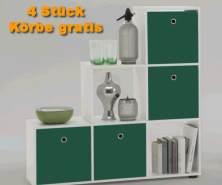 FMD Stauraumregal Bücherregal weiß inkl. 4 Körbe grün