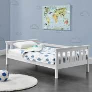 en.casa Kinderbett aus Kiefernholz mit Lattenrost und Rausfallschutz 80x160 cm, weiß
