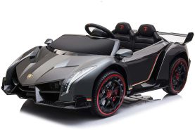 Kidcars Kinder Elektro Auto Lamborghini Veneno 4x35W 12V 10 Ah 2. 4G RC Bluetooth Weiss