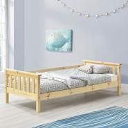 en.casa Kinderbett aus Kiefernholz mit Rausfallschutz und Lattenrost 70x140 cm, natur