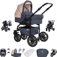 Friedrich Hugo Berlin | 3 in 1 Kombi Kinderwagen Komplettset | Luftreifen | Farbe: Dark Blue and Beige Night