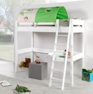 Relita 'RENATE' Multifunktionsbett mit Schreibtisch weiß, Stoffset 'Dschungel' inkl. Matratze
