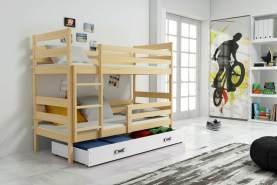 Stylefy Kera Etagenbett 80x160 cm Eiche Weiß