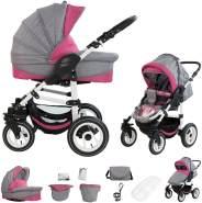 Bebebi Florenz | Luftreifen in Weiß | 2 in 1 Kombi Kinderwagen | Luftreifen | Farbe: Davanzati Pink White