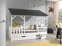 Vipack Hausbett 90x200 cm, weiß, Dach in schwarz, inkl. Bettschublade