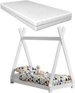 [en.casa] Tipi-Bett Weiß 70x140 cm, inkl. Lattenrost und Matratze