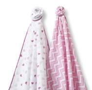 Swaddle Designs 'SwaddleDuo' 2-er Pack Pucktücher Pfeilförmiges Muster/Rosa