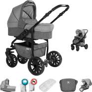 Friedrich Hugo Berlin | 2 in 1 Kombi Kinderwagen | GEL Reifen | Farbe: Grey and Light Grey Night
