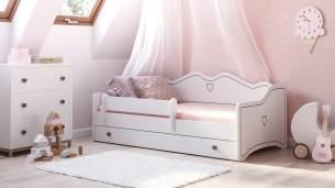 """Prinzessin Bett """"Clara"""" Kinderbett für Mädchen 80x160 cm Grau mit Matratze, Bettkasten und Rausfallschutz"""