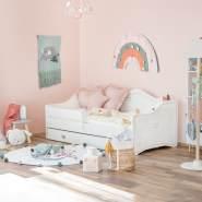 Prinzessin Bett KLARA Kinderbett für Mädchen 80x160 cm Grau mit Matratze, Bettkasten und Rausfallschutz