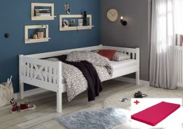 Bega 'Trevi' Kinderbett 90x200 cm, weiß, Kiefer massiv, inkl. Matratze (pink)