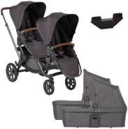 ABC Design 'Zoom' Zwillingswagen Street Grey, inkl Adapter und 2 Babywannen