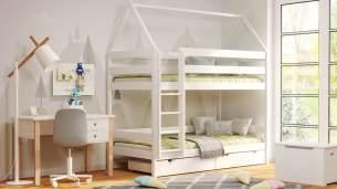 Kinderbettenwelt 'Home' Etagenbett 80x190 cm, weiß, Kiefer massiv, mit Lattenrosten und zwei Schubladen