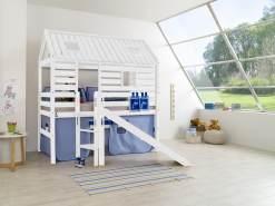 Relita 'Tom´s Hütte' Spielbett und Bett Eliyas mit Rutsche, Buche massiv weiß lackiert, inkl.Textilset blau-delfin